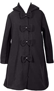 Girls Dress Black Coat Long Sleeve Button Holiday Special Occasion Winter Coat Outerwear