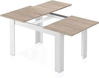Table Extensible scandinave Kenda Couleur Bois et Blanc avec rallonge