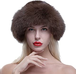 Women's Real Fox Fur Roller Hat with Mink Top Multicolor