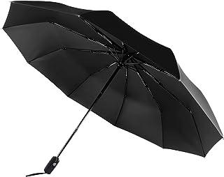 UmbrellaTravel Umbrella Saiveina 10 Ribs 210T Folding Waterproof & Windproof Umbrellas Women and Men Auto Open Close Umbrella Black