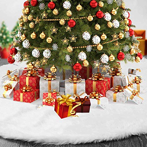 l.e.i. Tree Skirt,Christmas Tree Skirt,Plush Fur Christmas Tree Skirt White Snow Christmas Tree Base Cover for Merry Christmas Indoor Outdoor Home Christmas Party Decorations