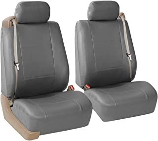 FH Group PU309SOLIDGRAY102 Gray Front PU Leather Seat Cover, Set of 2 (Built in Seat Belt Compatible Airbag Ready Solid)