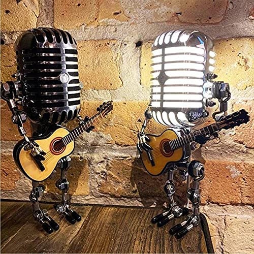 YSYY Vintage Microphone Robot Touch Dimmer Lamp Table Lamp - Robot Desk Lamp with A Guitar For Office Living Room, Bedroom Decoration Steampunk Decoration (Without Light)