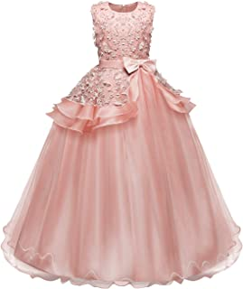 Girls Flower Princess Pageant Dress Sleeveless Wedding Party Bowknot Tulle Prom Ball Fluffy Gown Costumes for 4-14 Years Old