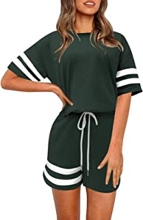 MISSJOY Womens Pajamas Set 2 Piece Sweatsuit Outfits Short Sleeve Lounge Sets Cozy Loungewear with Pockets