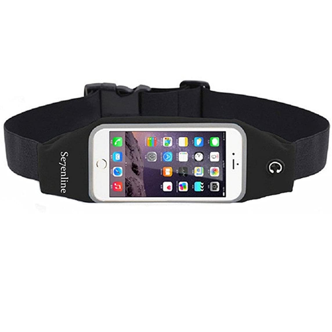 Se7enline Running Belt, Lightweight Sweatproof Large Capacity Waist Pack Bag with Clear Touch Screen Windows for iPhone 7/8 Plus 6/6S Plus 5/5S Samsung Galaxy S5 S4 4.7 5.5 inches