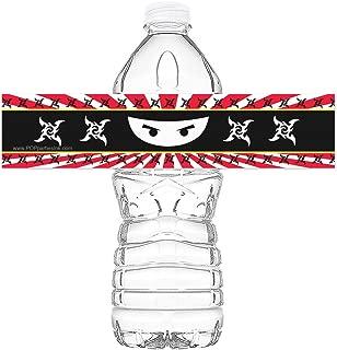 POP parties Ninja Bottle Wraps - Set of 20 - Ninja Water Bottle Labels - Ninja Decorations - Made in The USA