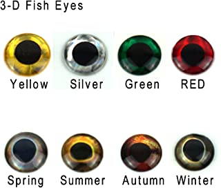 Aventik 360pcs Pack 8 Colors Choice Super Realistic 3-D Fish Eyes Holographic Fishing Lure Eyes, Fly Eyes, Fishing Lure Making, Fly Tying Materials,