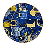 Coasters for Drinks Leather Print Drink Coasters (4.3 Inch, Round, 12mm Thick), Círculos Abstractos Cuadrados Absorbent Heat-Resistant Coasters for Drinks, Great Housewarming Gift Set of 6 11 cm