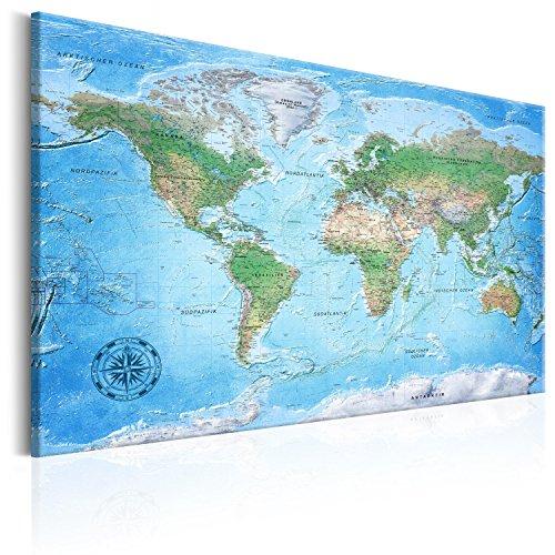 murando deutsche Weltkarte Pinnwand & Vlies Leinwand Bild 120x80 cm XXL Bilder mit Kork Rückwand Set mit 50 Markierfähnchen-Pinnnadeln Korktafel Kunstdruck Wandbilder Lernkarte Landkarte k-A-0154-p-a