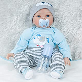 """RICH-Po Lifelike Reborn Baby Doll Boy Doll 22 """", Body Soft Vinyl Silicone Realistic Real Rebirth Doll with Clothes, for Kid's 2+"""
