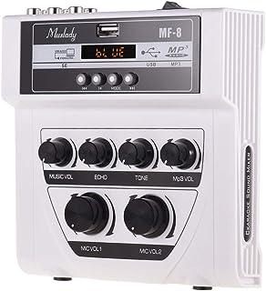 Decdeal Muslady MF-8 Mini Karaoke Sound Audio Mixer Stereo Echo Mixers Dual Microphone Inputs Support BT Recording MP3 Fun...