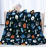 Elegant Home Kids Soft & Warm Sherpa Baby Toddler Boy Blanket Printed Borrego Stroller or Baby Crib or Toddler Bed Blanket Plush Throw 40X50 (Sports)