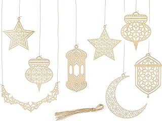 Bluelves Pendentif en Bois Ornement Ramadan, Ornement en Bois Eid, 8 Pièces Ramadan Pendentif Suspendu Étoile Lune, Penden...