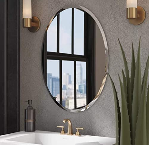 Quality Glass Decorative Frameless Oval Mirror for Wall Bathrooms Home (18 X 24 Inches, Silver)