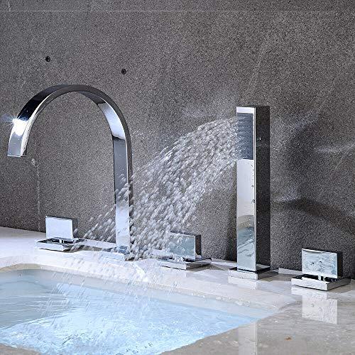 Badewannenarmatur 5 Loch Einhebelmischer Wasserfall Handbrause Wannenarmatur Set Chrom