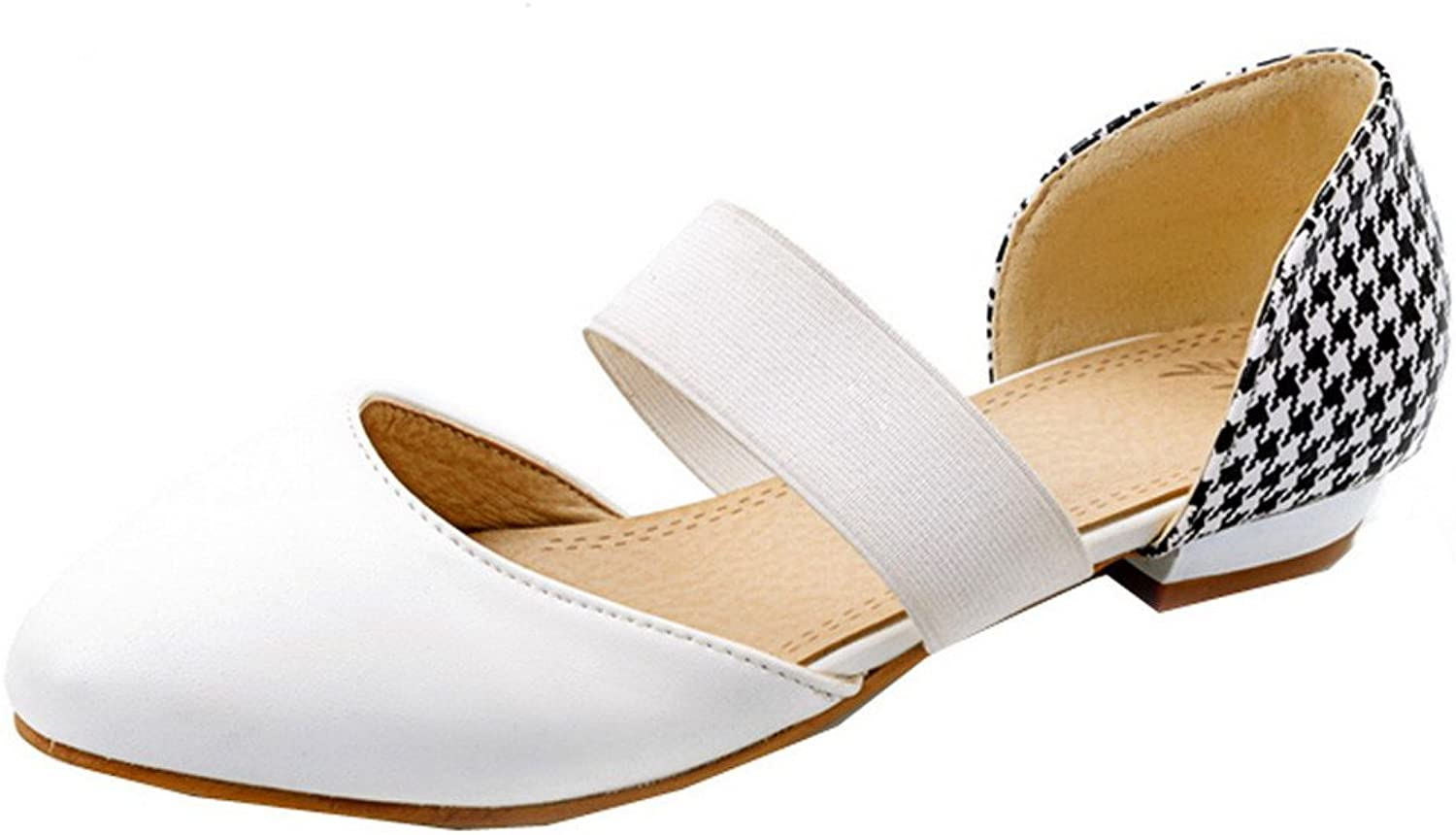 WeiPoot Women's Pull-On Closed-Toe Low-Heels Pu Solid Sandals, EGHLH006594