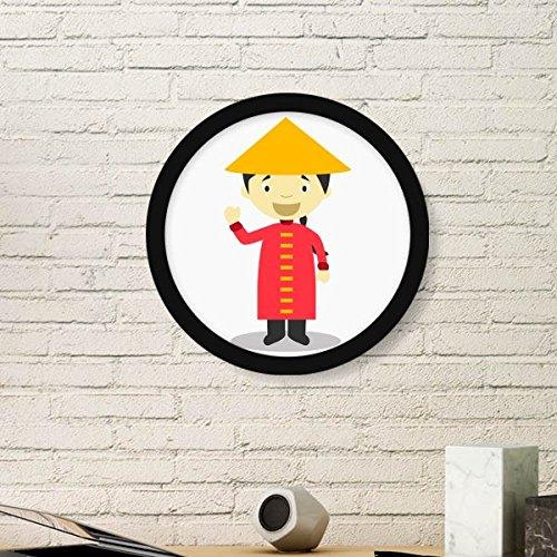 DIYthinker Rode Lange Jurk China Cartoon Ronde fotolijst Art Prints Van Schilderijen Thuis Muursticker Gift