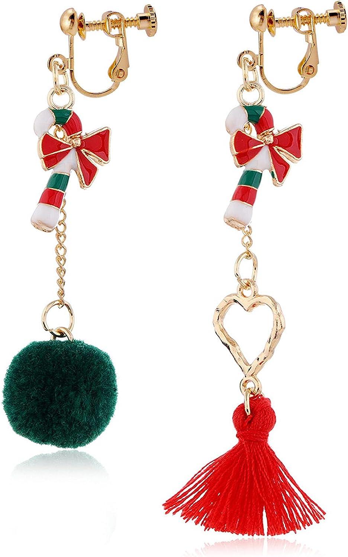Christmas Crutch Dangle Asymmetric Earrings Hairball Tassel Clip on Earrings Non Pierced Fashion Jewelry for Women Teen Girls