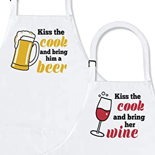 Kiss The Cook 😘 2-Piece Kitchen Apron Set | Matching Engagement Wedding Anniversary Bridal Shower Gift for Bride | Wedding Gifts for The Couple Unique | Newly Married Presents
