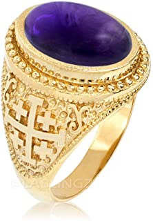 Religious Jewelry by LABLINGZ 14K Yellow Gold Jerusalem Cross Purple Amethyst February Birthstone Ring