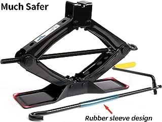 Lead Brand Black Steel Scissor Jack, 1.5 tons (3,000lbs) Capacity, Oversize Base with Crank Handle
