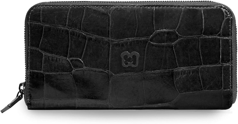 Eric Javits Luxury Designer Women's Fashion Handbag  Zip Wallet  Black Croc