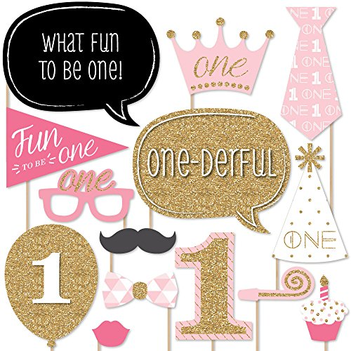 Big Dot of Happiness 1st Birthday Girl - Fun to be One - First Birthday Party Photo Booth Props Kit - 20 Count