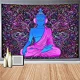 Tapiz de Buda psicodélico, tapiz de planta de fantasía estética, tapiz espacial de galaxia, tapiz de cielo estrellado, montaje en pared A6 150x200cm