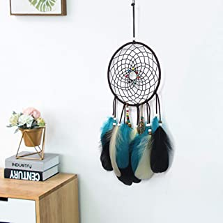 MRJO Handmade Dream Catcher Feather Native American Dreamcatcher Circular Net for Car Kids Bed Room Wall Hanging Decoration Decor Ornament Craft (Blue)