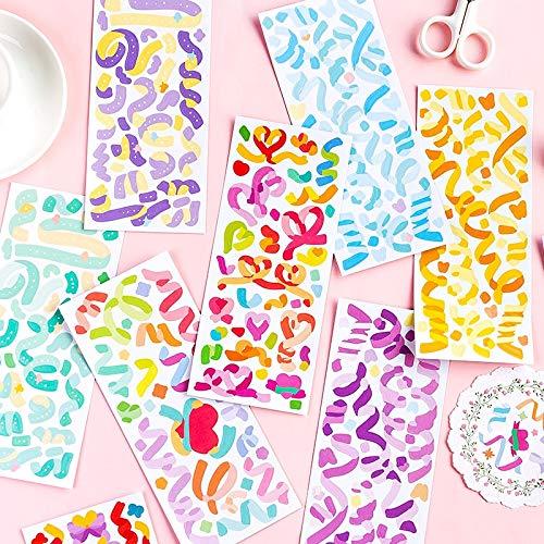 PMSMT 3 unids/Lote de Pegatinas Decorativas de la Serie de Estrellas del Arco Iris, Etiqueta de Palo de álbum de Recortes, Diario, papelería, álbum, Pegatinas de Cinta de Colores