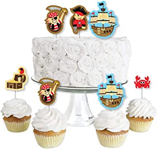 Ahoy Mates Pirate - Dessert Cupcake Toppers - Baby Shower or Birthday Party Clear Treat Picks - Set of 24