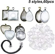 Amajoy 60 Pieces 5 Styles Pendant Trays Round & Square & Heart & Teardrop & Oval with Bright Glass Cabochon Dome Tiles and Necklace Cord for Crafting DIY Jewelry Gift Making
