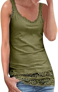 Ladies Lace Stitching Sleeveless Vest with Lace Trim Hem Embellished Beach Tank Top Shirt