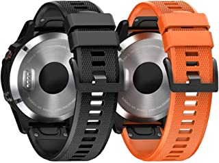 ANCOOL Compatible with Fenix 6 Bands Easy Fit Mechanism Silicone Watch Bands Replacement for Forerunner 935/Forerunner 945/Fenix 5/Fenix 5plus/Fenix 6/Fenix 6 Pro Smartwatches (Black&Orange)
