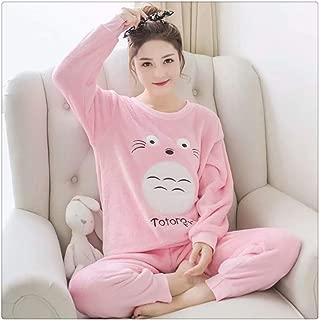 Long Sleeve Cartoon Pajama Sets Sleepwear Women Pajama (Water Mink Cashmere)