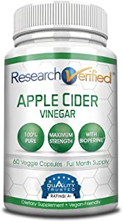Research Verified Apple Cider Vinegar Capsules 1600mg – 100% Pure Vegan Mother ACV – Healthy Weight Loss & Powerful Fat Burner with Bioperine for Added Absorption – 60 Capsules (1 Month Supply)