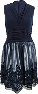 Lingswallow Womens Blue Sleeveless Embroidered Sheer Mesh Lace Party Dress