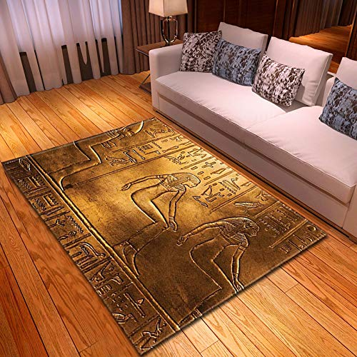DRTWE Alfombra,Suave Terciopelo Área Rugs Ancient Egypt Mujer Hombre Impreso Anti-Skid Fluffy Shaggy Runners Piso Mat Bedside Sofá Carpet For Living Room Bedroom Home Decor,50 * 80Cm