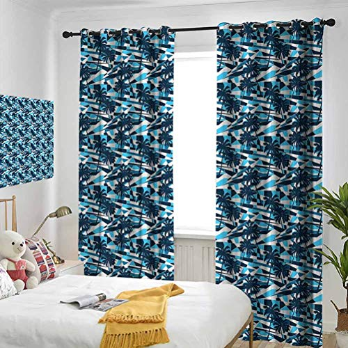 Palm Tree Fractal Looking Geometric Backdrop in Blue Shades with Tree Silhouettes Blue Dark Blue White Bedroom blackout curtains Three-layer braided noise reduction ring top shade curtain W72 x L96 I