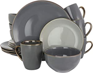 Elama Tahitian Round Stoneware Grand Collection Dinnerware Dish Set, 16 Piece, Assorted Solid Gray