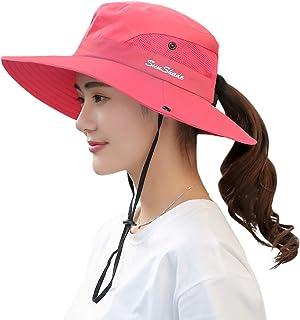 日よけ帽子 レディースアウトドア UVカット通気性 ポニーテール アウトドア帽子 サファリハット 作業用 自転車用帽子 つば広 レディースキャップ バケットハット 登山 小顔効果帽子 折りたたみ可 2way仕様