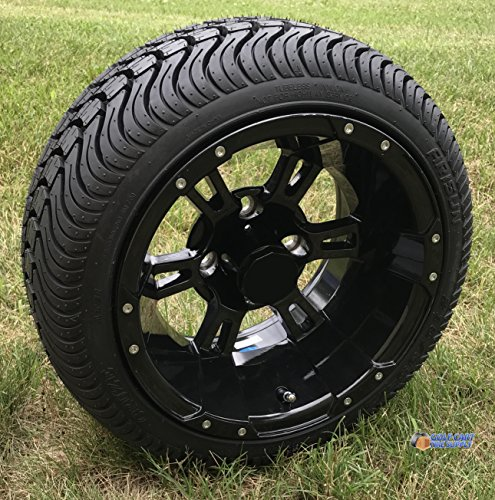 GOLF CART TIRE SUPPLY 12in RUCKUS Gloss BLACK Wheels and 215/35-12in DOT Low Profile Tires Combo -...