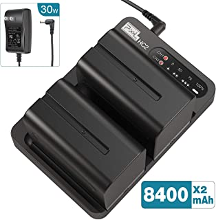 NP-F970 Battery and Charger (Dual-Channel 30w Quick Charger), Pixel NP F970 Battery(2-Pack/8400mAh) for Sony NP F750 F550 F770 F960 F975 F930 F570, Fit for Pixel R60c Ring Light and P50 Video Light
