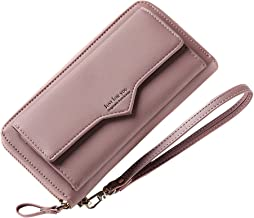 Aeeque Wallet for Women, Ladies Wallet Coin Purse PU Leather Female Card Holder Wrist Strap Long Lady Clutch Handbag Zipper Pocket Organizers for Samsung S9 S8 S7/iPhone X 8 7 6 6S Plus