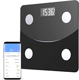 体重計 体組成計体脂肪計 Bluetoothスマホ対応 体脂肪率やBMI/体重/基礎代謝など測定できる ダイエットや健康管理に役立つ 収納便利 180 kgまで 日本語説明書付き (ブラック)