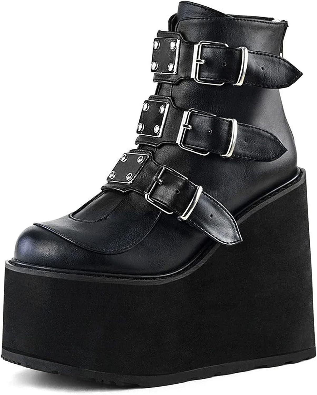 New York Mall SaraIris Women's Platform Boots Nashville-Davidson Mall Goth Style Block Punk Chunky Hee