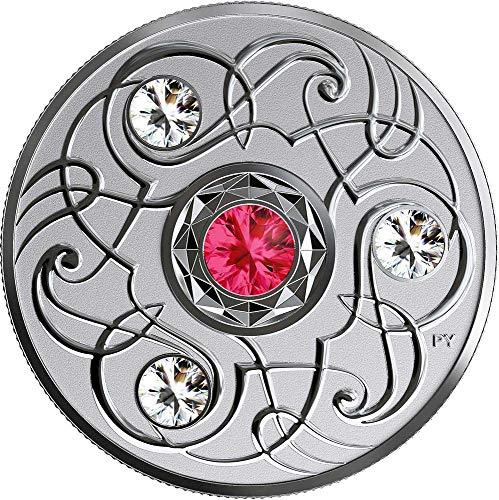 Power Coin July Julio Birthstone Swarovski Crystal Moneda Plata 5$ Canada 2020