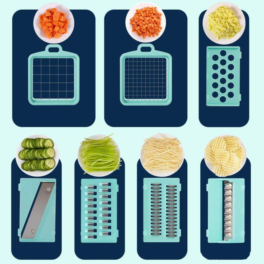 Hachoir Légumes Hachoir Alimentaire,Déchiqueteur De Pommes De Terre, Coupe De Légumes Verre D'Artefact Jaune,S Plastic White Green