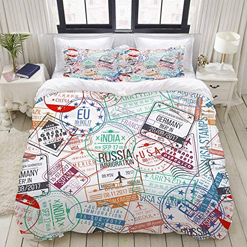 TMSSUNCI Chic Bedding Bed for Kids and Adult,Passport Stamp Seamless Pattern International Arrivals,Hotel Woman Man Boy Girl Bedding 3-Piece (Queen/Full/88 x88)